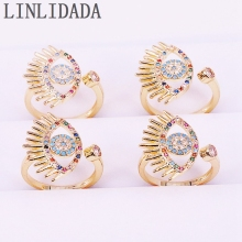 8Pcs New Trendy Rainbow Colorful CZ Eye Adjustable Finger Rings For Women Party Gold Jewelry