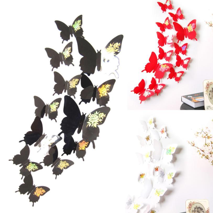 Nuevo Calificada Mariposas Pegatinas de Pared Calcomanía Caliente 3D Arte de La
