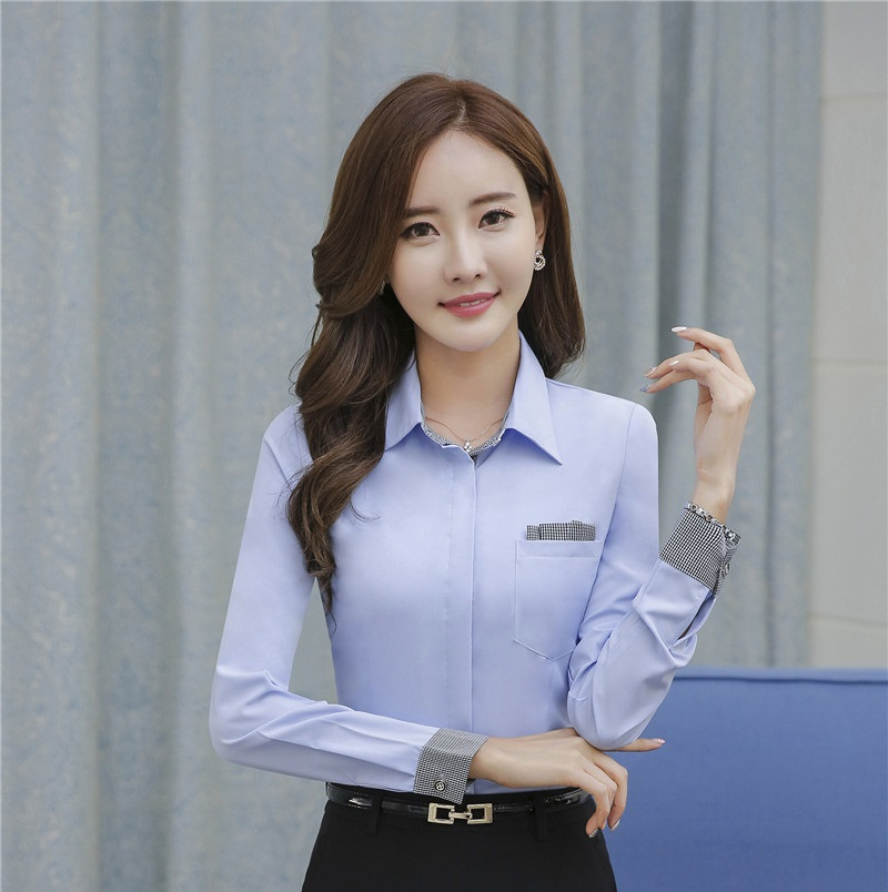 ddc19289f3f Novelty Blue Fashion Professional Blouses   Shirts Office Ladies Long  Sleeve Spring Fall Female Tops Blusas Blouse Camasis