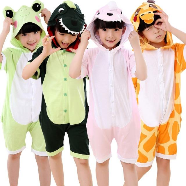 De Algodón de verano Niño Niña Pijamas pijamas Cosplay minions Puntada Pikachu Animal de la Historieta Pijamas Niños de Manga Corta de los niños Cama