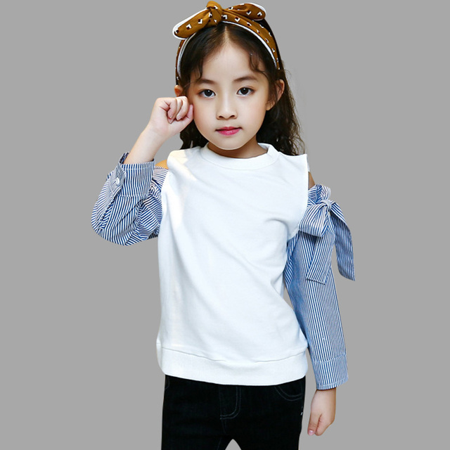Us 10 93 35 Off Girls T Shirt Off Shoulder Striped Kids O Neck Tops Tee Teenage Girls Bottoming Shirt 4 8 9 12 Years Kids Girls Clothes In Tees