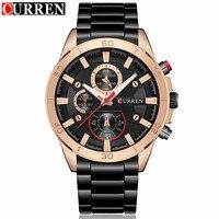 Mens Watches Curren Brand Luxury Gold Black Steel Analog Quartz Watch Men Fashion Casual Business Wristwatches
