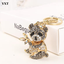 Panda Black Bamboo Lovely Cute Rhinestone Crystal Purse Bag Key Chain Pendent Women In Jewewlry Best Gift For Friend(China)