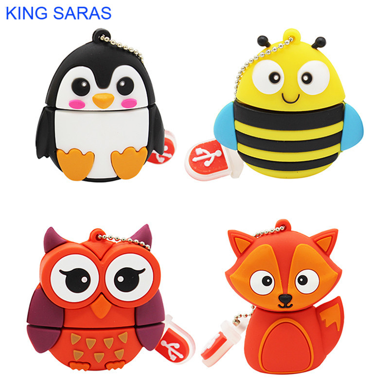 KING SARAS 64GB Cute Cartoon Penguin Owl Fox Style Usb Flash Drive Usb 2.0 4GB 8GB 16GB 32GB Vreative Pendrive Gift