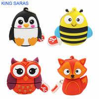 KING SARAS 64GB lindo pingüino de dibujos animados búho zorro estilo usb flash drive 2,0 4GB 8GB 16 colgante de regalo de 32GB