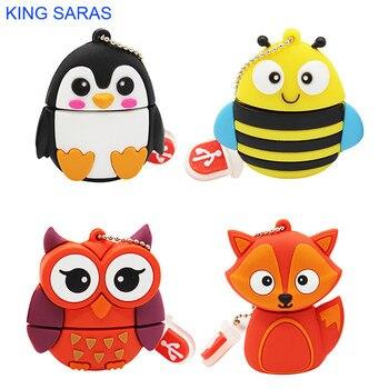 Rey SARAS 64GB lindo pingüino de dibujos animados búho fox estilo usb flash drive usb 2,0 de 1 GB 2GB 4GB 8GB 16GB 32GB vreative memoria usb para regalo