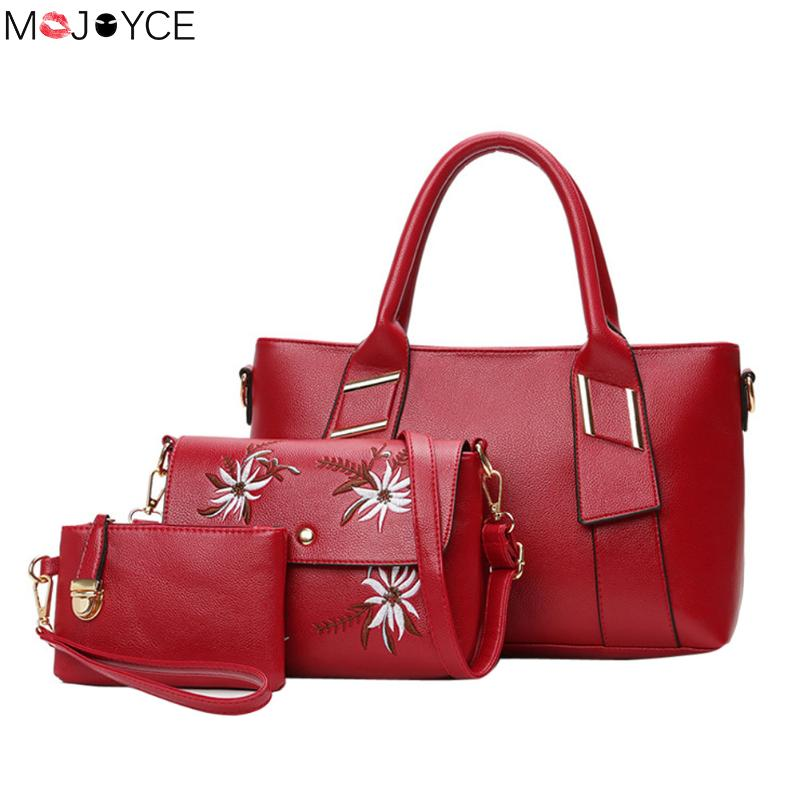 3 Pcs/Set PU Leather Women Bag Leather Handbags High Quality Casual Female Printing Bags Trunk Tote Famous Brand Shoulder Bag women bag set high quality tote bag
