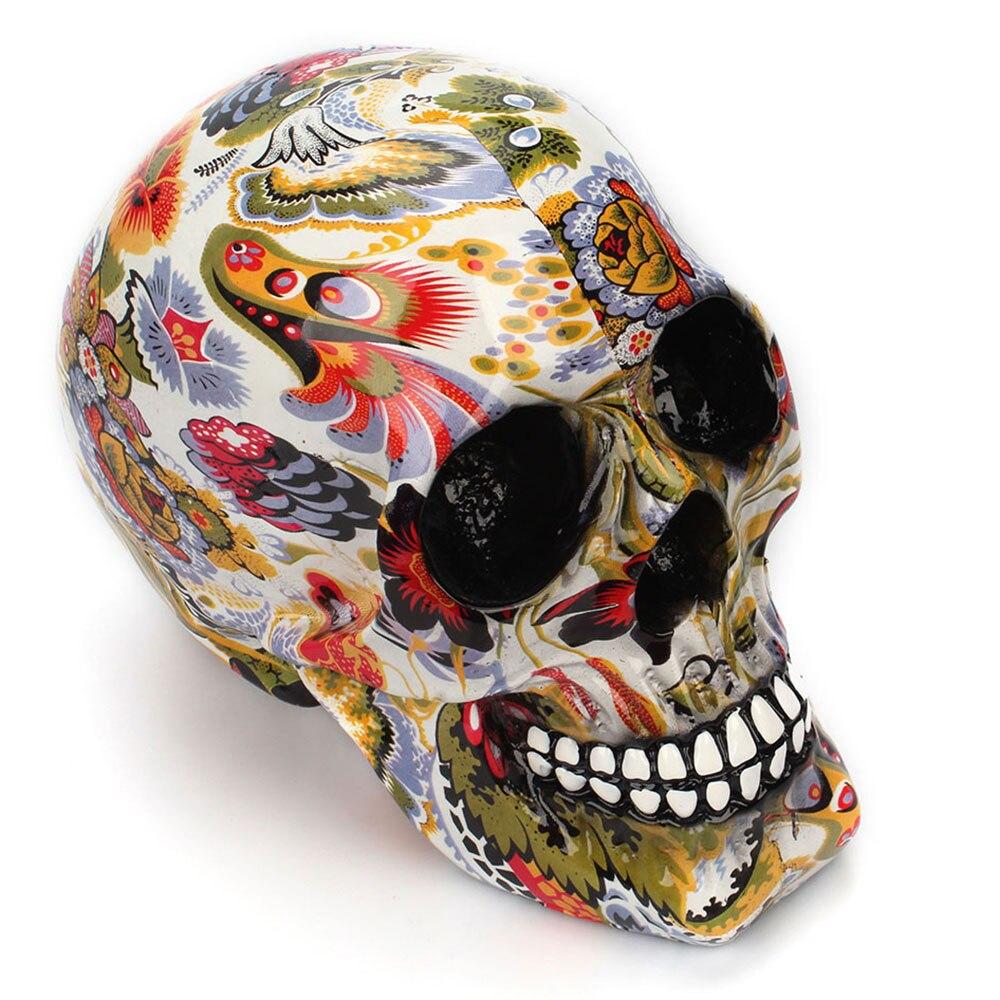 Horror calavera decoración resina esqueleto humano calavera Color flor pintura Halloween casa Bar mesa escritorio decoración artesanía regalo 3