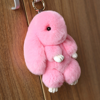 100% Real Genuine Rex rabbit Furs Keychain Pendant Bag Car Charm Tag Cute Rabbit Toy Doll Real Fur bunny Keychains gift