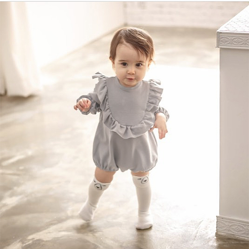 EnkeliBB 2019 Baby Girl Long Sleeve Rompers New Born Baby Ruffle One Piece Kids Cute Clothes