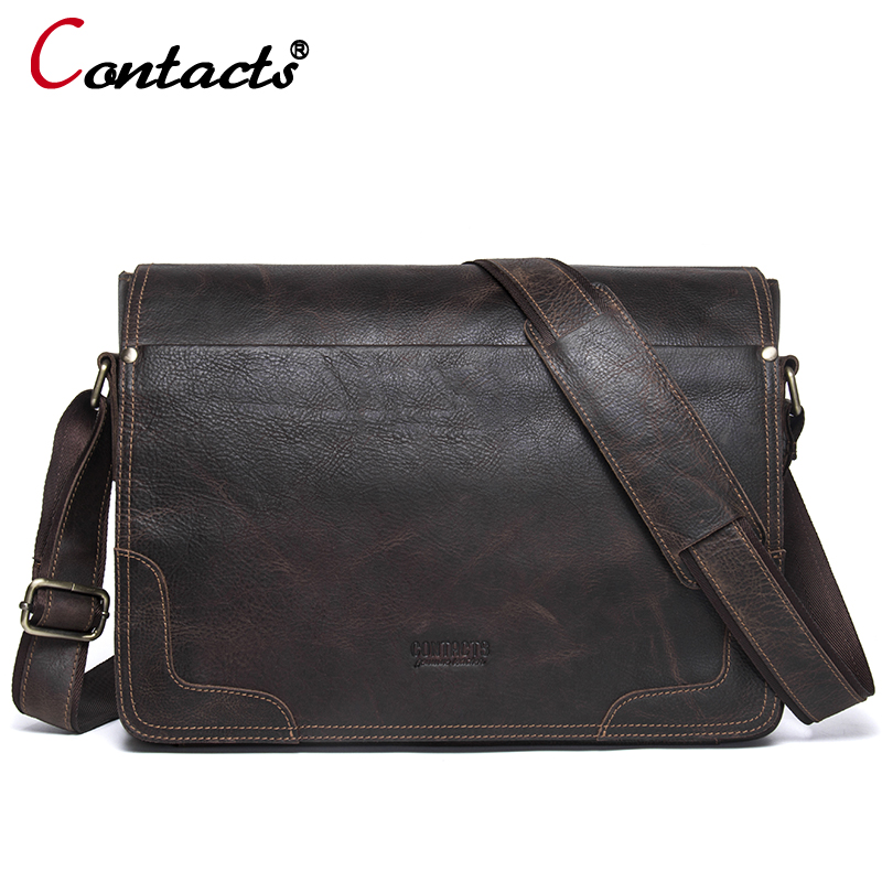 CONTACT'S Genuine Leather Bag Men Bags Casual Flap Shoulder Crossbody Bags Male Shoulder Handbags Messenger Mens Leather Bag Men
