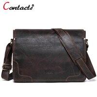 CONTACT'S Genuine Leather Bag Men Bags Casual Flap Shoulder Crossbody Bags Male Shoulder Handbags Messenger Mens Leather Bag Men