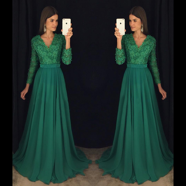 905e574c6a Charming Emerald Green Girl Prom Dress 2017 A Line Floor Length Long Sleeve  Lace V Neck Pearls Chiffon Long Prom Dresses