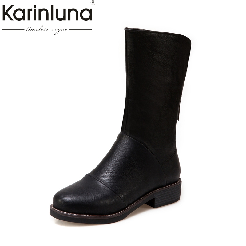 KARINLUNA  2017 large size 33-44 fashion black beige Zip up women shoes woman square med heels riding boots winter footwear bar iii new black beige chevron striped women s size large l knit top $39