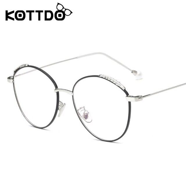 d5f369cdb6052 Kottdo Novas Pérolas de Moda Espetáculo Armação de óculos Óculos Claros  Mulheres Rosto Redondo Retro Do