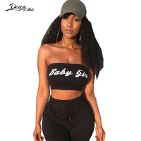 Women Letter Print Strapless Sexy Crop Top 2018 Fashion Tank Tops Slim Casual Vest Tees