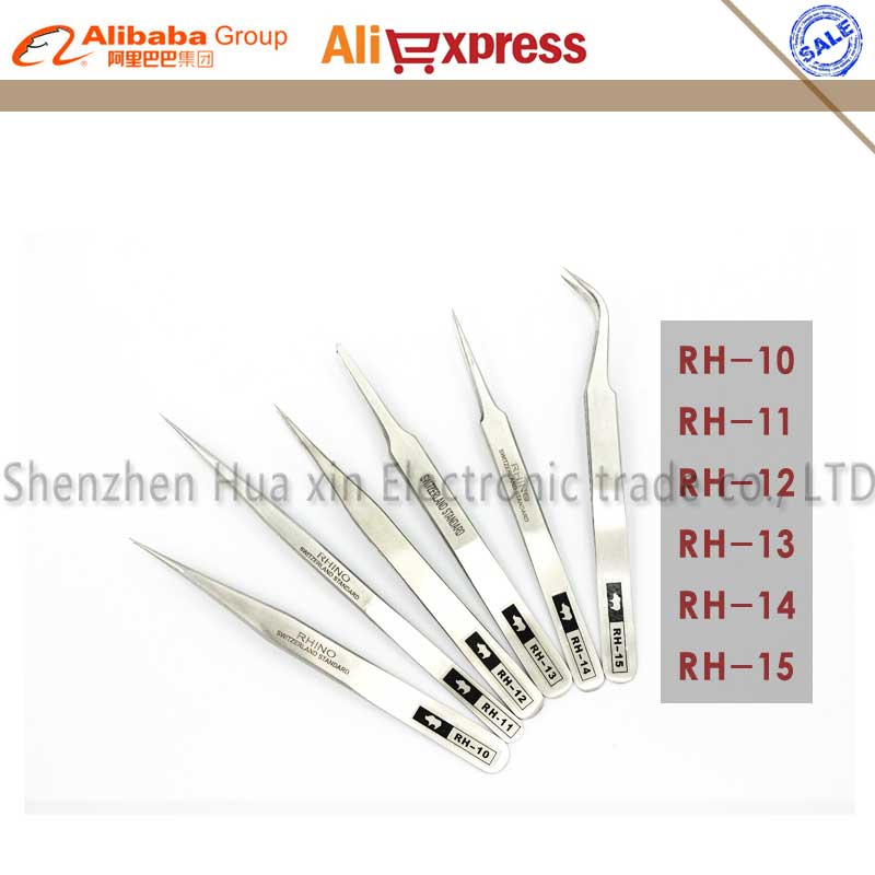 Original RHINO 6pcs/set Made in Japan Dull polish Stainless Steel Tweezers High accuracy Tweezers tools set for Antimagnetic lm64c142 industrial lcd original made in japan a in good condition