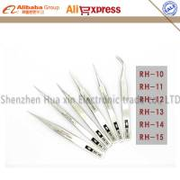 Original RHINO 6pcs Set Made In Japan Dull Polish Stainless Steel Tweezers High Accuracy Tweezers Tools