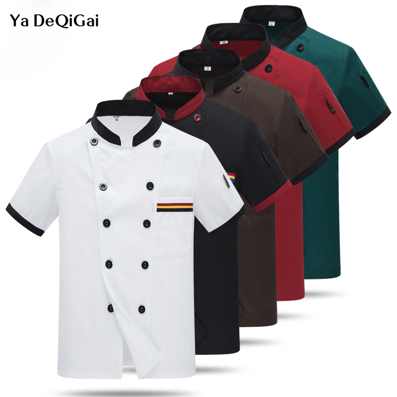 New Wholesale Chef Uniform Unisex Restaurant Kitchen Breathable Double Breasted Shirt Chef Jacket+cap+apron Work Clothes For Men