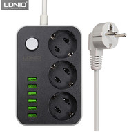LDNIO Smart USB Power Strip Charging 6 USB Port 5V 3 4A Charger Adapters 3 AC