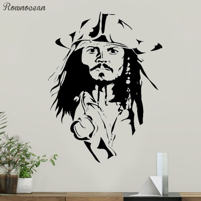 691a3f52157 Jack Sparrow Wall Decal Pirates Of The Caribbean Sticker Children s Room  Interior Decor Animated Print Vinyl Mural Kids SP15