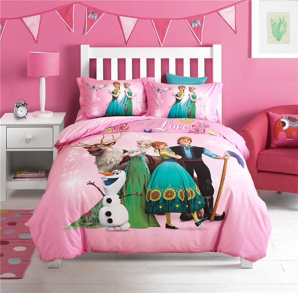 Elsa and Anna Disney Cartoon 3D Printed Bedding Set for Girls Bedroom Decor  Cotton Bed Duvet Cover Single Twin Full Queen PinkPink Bedroom Sets Promotion Shop for Promotional Pink Bedroom Sets  . Pink Bedroom Set. Home Design Ideas