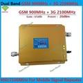 Display LCD! Dual Band 3G W-CDMA 2100 MHz + GSM 900 Mhz Mobile Phone Signal Booster, Telefone celular Repetidor de Sinal + Adaptador de Energia
