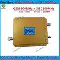 Pantalla LCD! doble Banda 3G W-CDMA 2100 MHz + GSM 900 Mhz Amplificador de Señal de Teléfono Móvil, Teléfono celular Repetidor de Señal + Adaptador de Corriente