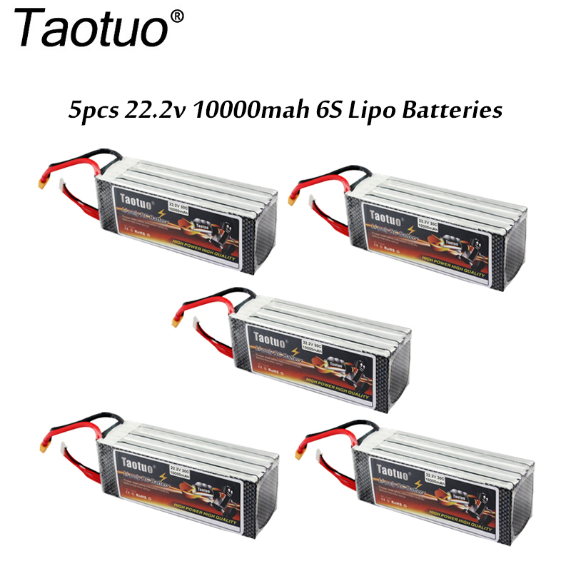 5PCS/PACK Taotuo Power Lipo Battery 22.2v 10000mah 30C 6S XT60 Plug For RC Airplane Car Helicopter Quadcopter FPV Bateria