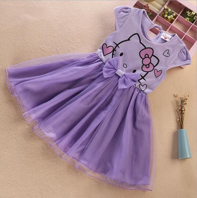 7c082c7fb Hello Kitty girls Summer dress The purple of the cotton children's gauze  Cute baby princess dress