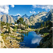 WONZOM Mountain lake-DIY Painting By Numbers Kit, Handwork Canvas Oil Painting, Framed Home Decor Wall Art Picture 40X50CM(China)
