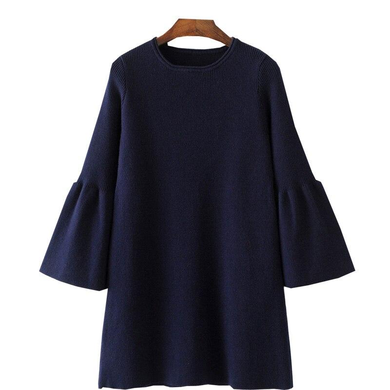 QPFJQD Navy Elegant Dresses Flare Sleeve Spring Vestidos font b 2018 b font New Casual O