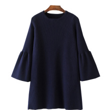 QPFJQD Navy Elegant Dresses Flare Sleeve Spring Vestidos 2018 New Casual O-Neck Mini Knitted Dress Female Clothing  High Quality