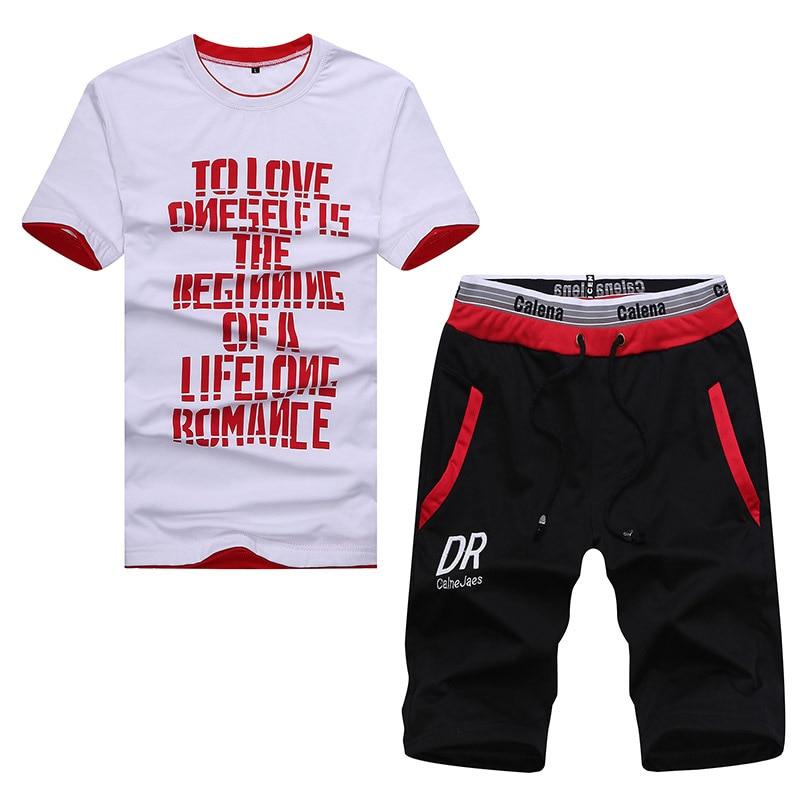 Browon лето плюс Размеры 4xl Наборы Мужские Футболка дышащий письмо Дизайн короткий рукав o-образным вырезом хлопковые футболки + Шорты для женщ... ...