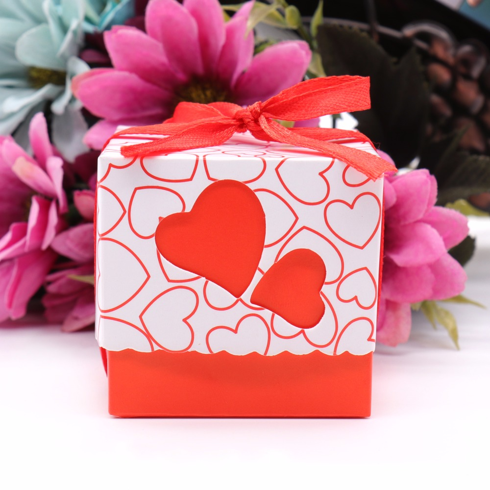 50pcs Double Hollow Love Heart Wedding Candy Boxes Design Laser Cut ...