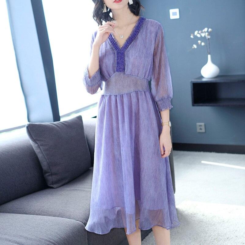 2019 Floral élégant lâche soie mousseline de soie robe femmes bleu xxl xxxl grande taille v-cou violet robes de soirée robe vêtements d'été