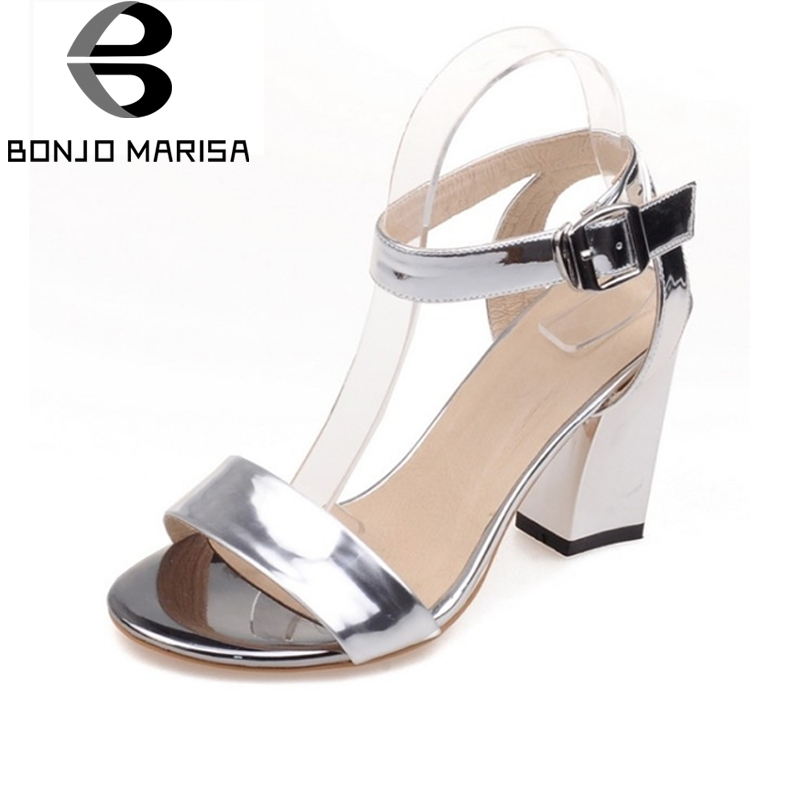 2017 Women Gladiator Ankle Straps Sandals Square High Heels Open Toe Summer Shoes Woman Party Wedding Big Size 34-43 BONJOMARISA new 2016 sexy gladiator ankle straps high heels fashion brand women sandal summer mixed colors open toe sandalias big size 34 43