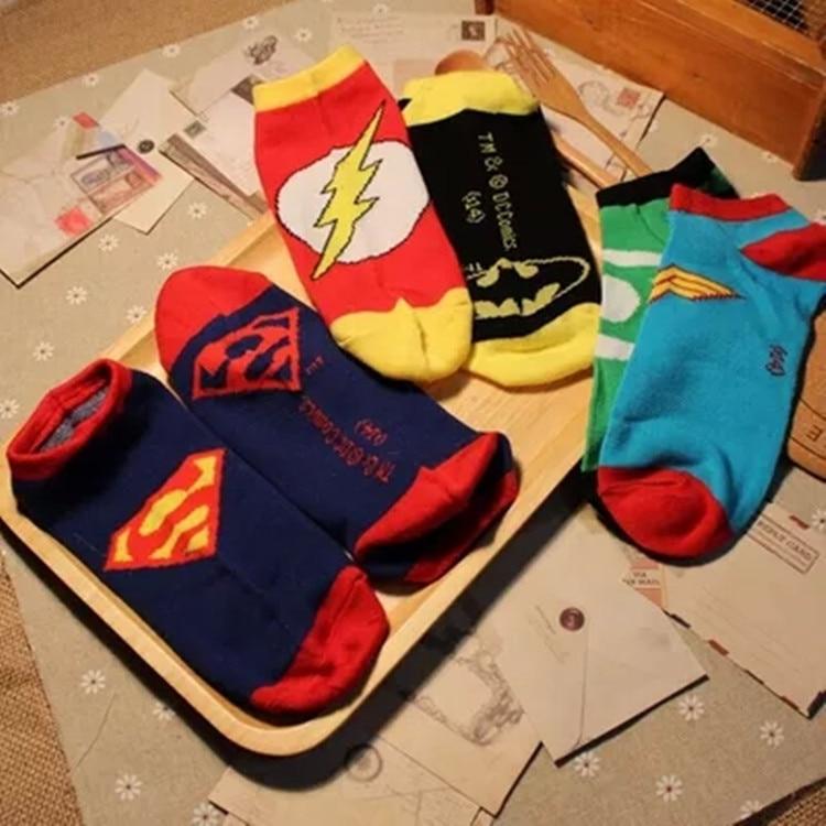 Fashion Women Men Superman Green Lantern Short Socks The Flash Wonder Women Batman Cartoon Ankle Socks Casual Funny Cotton Socks