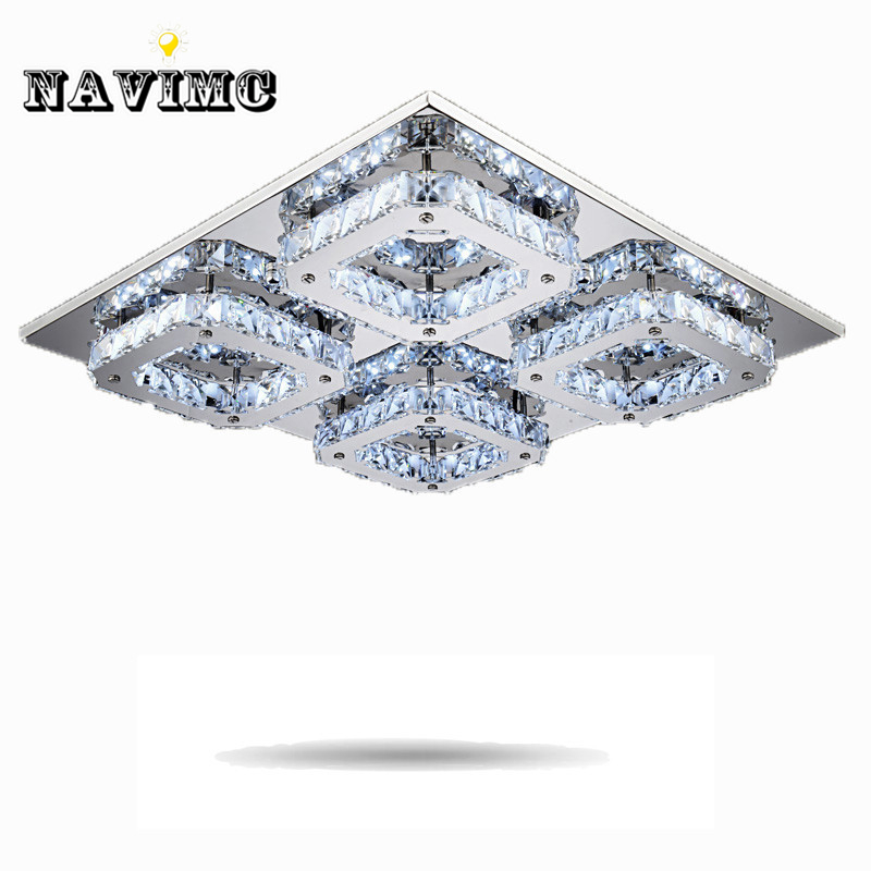 Square LED Crystal Light Ceiling Lighting Fixture Surface Mounted Crystal LED Lamp for Hallway Aisle Corridor Fast Shipping modern led crystal ceiling light hallway aisle fixture e14 lamp 90 220v
