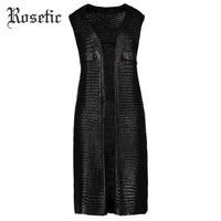 Rosetic Gothic Vest Women Autumn Black Patchwork Casual Pocket Outerwear Fashion Sexy Chic Slim Lady Elegant Gothic Casual Vest