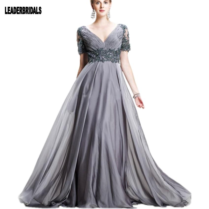 Silver Gray Short Sleeves Prom Dress Elegant V Neck Chiffon Satin ...