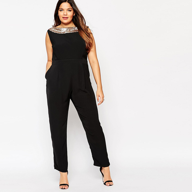 Vagary Oversize Sequined Jumpsuits Sexy Club Female New Arrival Black O Neck Sleeveless Backless Elegant Long Jumpsuit Plus Size