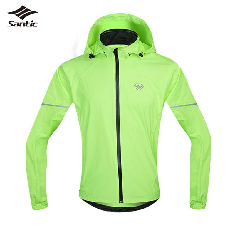 ФОТО Santic Waterproof Cycling Jacket Raincoat SPF30+ Breathable Hooded MTB Bicycle Bike Rain Jacket Long Sleeve Cycling Jersey Men