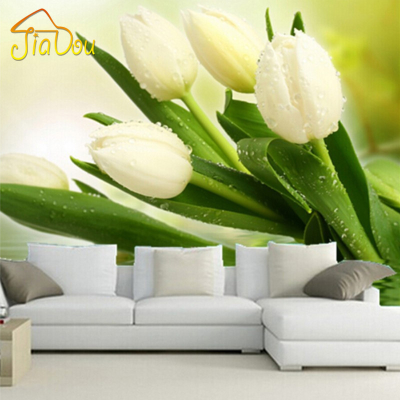 Custom Photo Wallpaper Murals 3D Modern Living Room TV Backdrop Wall Decor Bedroom Fresh White Tulips Non-woven Mural Wallpaper  custom mural wallpaper 3d non woven black and white flower hand painted paintings living room sofa tv 3d wall murals wallpaper
