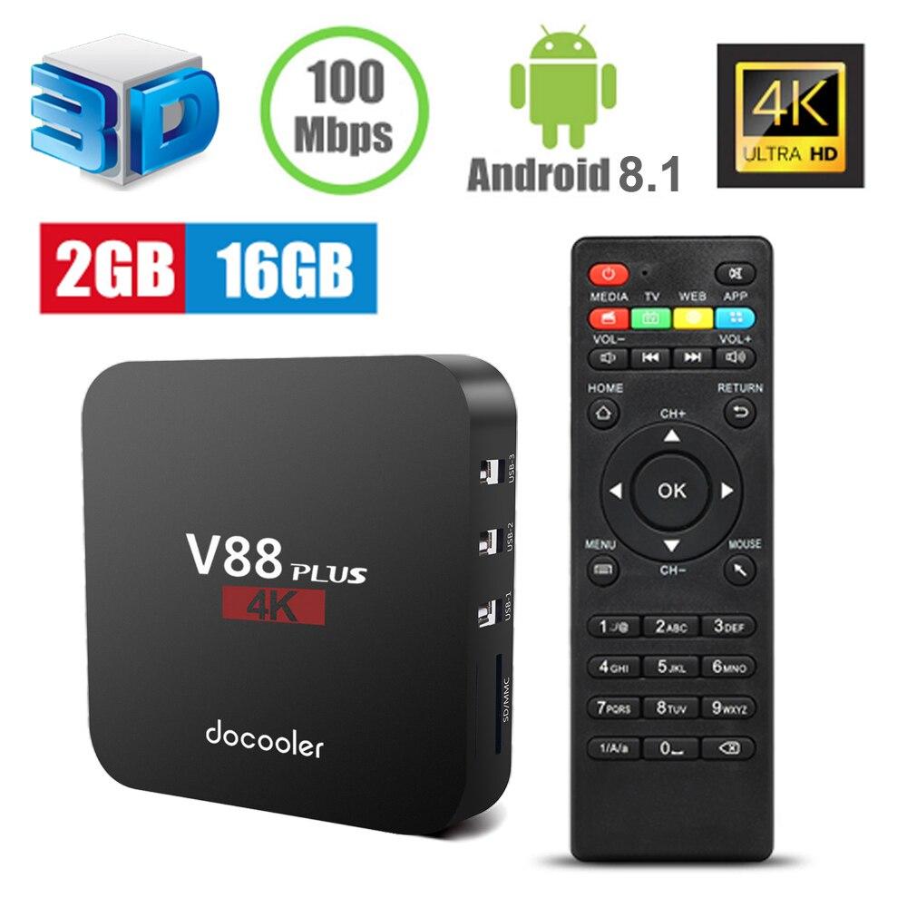Docooler V88 Plus TV Box Android 8 1 RK3329 Quad Core 4K VP9 H 265 2GB