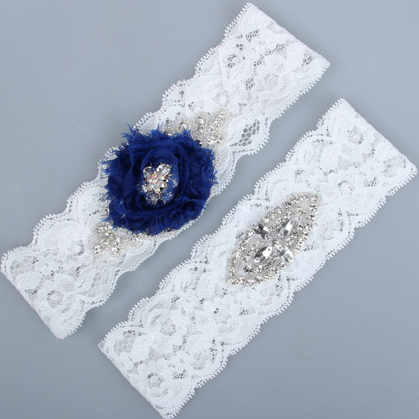 2pcs/set Navy Blue Wedding Garter Set Ivory Lace Bridal