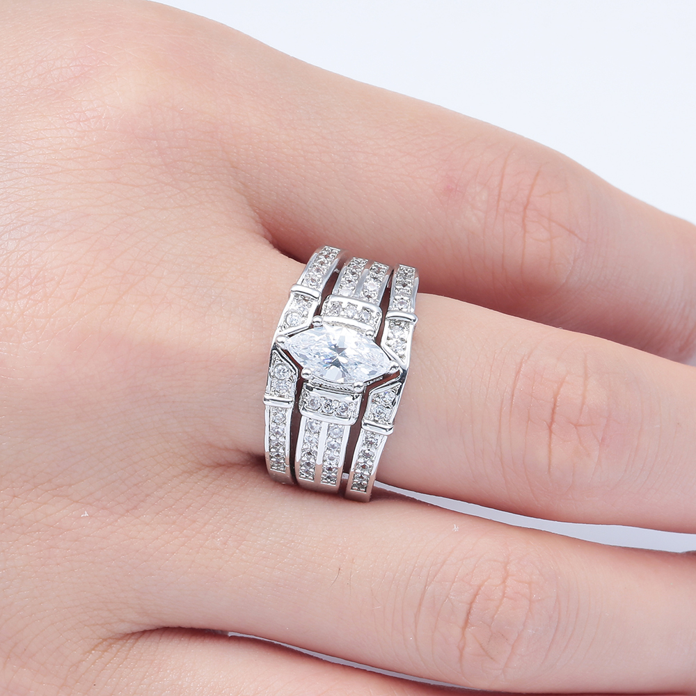 cheap 3pcs rings sets for lady wedding jewelry drop shipping gift ...