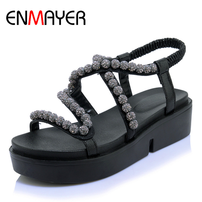 ФОТО ENMAYER Summer Women Sandals Ankle Wrap Elastic Band Beading Platform Large Size 34-44 Black White Silver