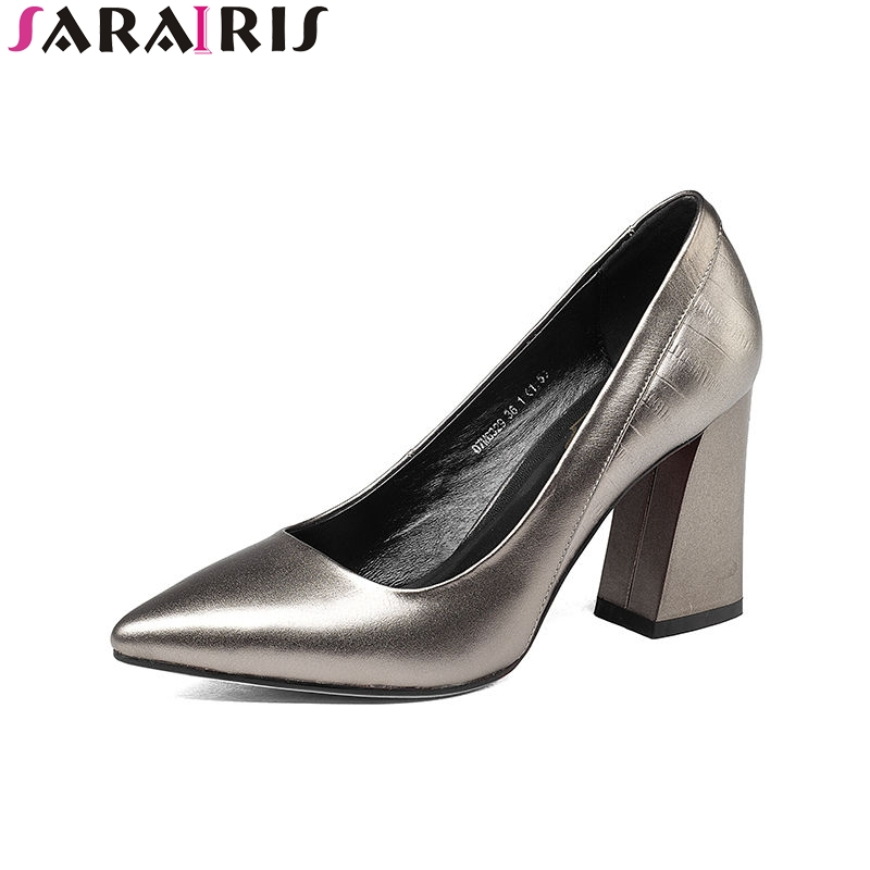 SARAIRIS 2018 Spring Autumn Concise Metal Cow Leather Pumps Women Pointed Toe Shallow Ol Shoes Woman High Chunky Heels spring autumn shoes woman pointed toe metal buckle shallow 11 plus size thick heels shoes sexy career super high heel shoes