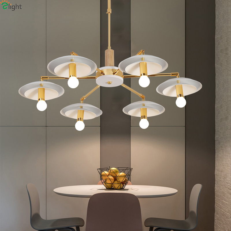 Modern Gold Metal Led Chandeliers Lighting Rotatable Living Room Led Pendant Chandelier Lights Dining Room Hanging Light Fixture modern lustre crystal led chandelier lighting chrome metal living room led pendant chandeliers light led hanging lights fixtures